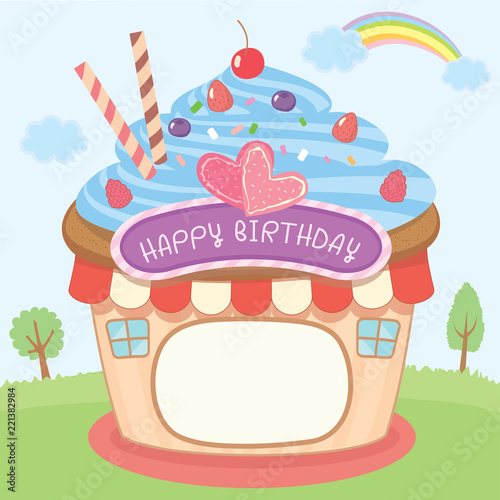 Illustration Vector Of Cupcake House Design Photo Booth And Frame