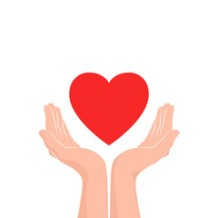 Love care Icon. Two hands with red heart. Vector illustration