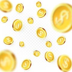 Falling golden coins isolated on transparent background. Shiny metal dollar rain. Casino jackpot win. Vector illustration