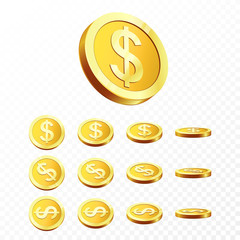 3d Gold coins illustration. Realistic gold coin on transparent background. Vector