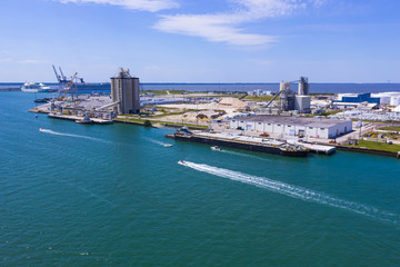 Cape Canaveral, USA. The arial view of port Canaveral from cruise ship, docked in Port Canaveral, Brevard County, Florida Fototapete