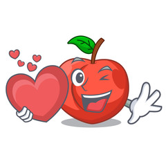 With heart cartoon fresh sweet nectarines in the garden