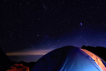 Starry sky seen from the Karasawa tent area, nagano, japan