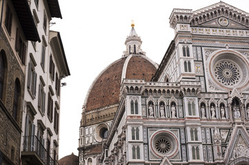 details of the cathedral of Florence on a cold winter day