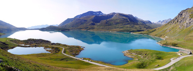 panoramic view of the wonderful lake of Mont Cenis, in Savoie, in the French Alps