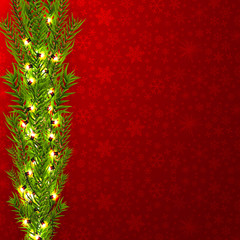 Christmas border with fir branches, pine cones, holly, and string lights. Merry Christmas background with open space for your text.