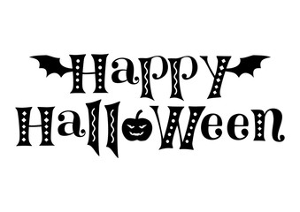 Decorative lettering of Happy Halloween in black decorated with bat wings, pumpkin and ornaments isolated on white background for decoration, poster, invitation, party, advertisement, greeting card