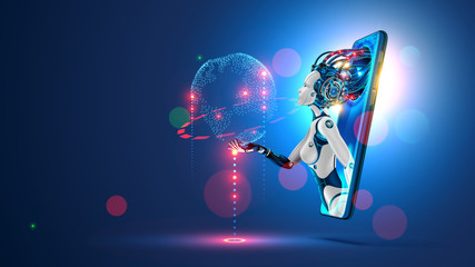 Artificial intelligence provide access to information and data in online networks via smartphone. AI in the form of woman cyborg or bot coming out of the screen phone and offers to use digital mind