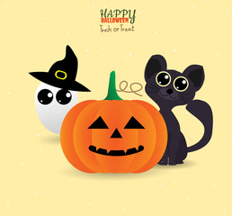 Voucher halloween cute ,trick or treat with pumpkin, cat, ghost, hat