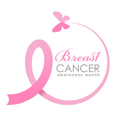 Breast cancer Awareness month banner with butterfly fly make pink ribbon sign vector design