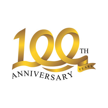 100th anniversary years ribbon. number gold color