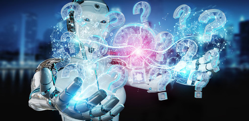 Cyborg solving problem with digital question marks 3D rendering