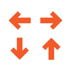 arrow sign set orange color isolated vector
