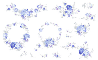Set of blue roses in shabby chic style