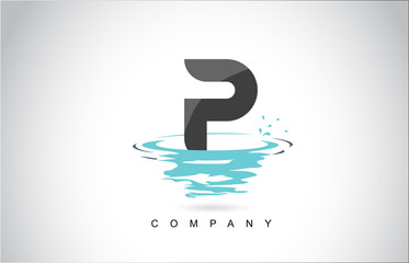 P Letter Logo Design with Water Splash Ripples Drops Reflection