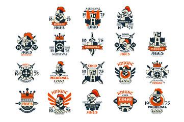 Medieval logo design set, middle ages vintage emblem vector Illustrations