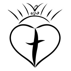 A cross in the heart, a shining sun and a flying bird
