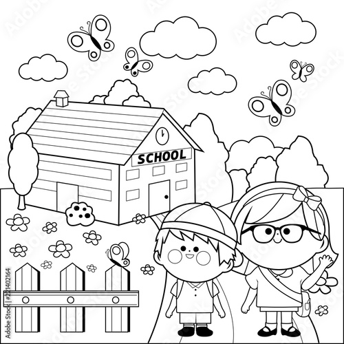 Children at school. Black and white coloring book page\