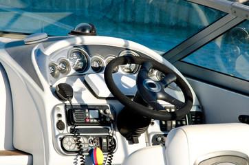 Cockpit of modern motor boat