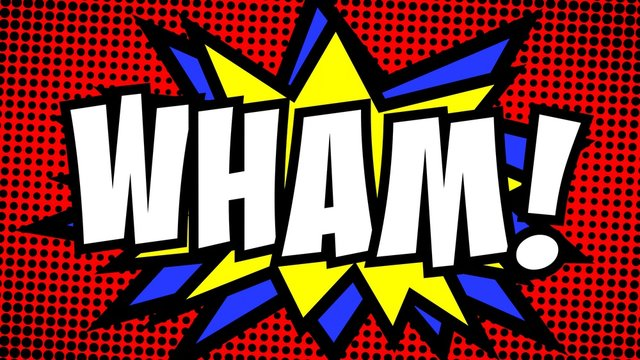 A comic strip cartoon with the word Wham. Green and halftone background, star shape effect.