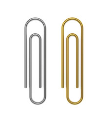 Silver and golden paper clips. 3D Illustration.