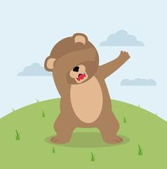 Dabbing teddy Bear in field