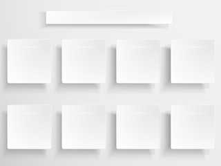 Set of white boxes for design manipulation.