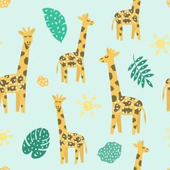 Childish seamless pattern with cute giraffe. Creative texture for fabric