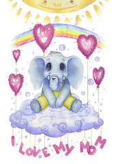 I love my mom, watercolour poster for nursery. Cute character, little elephant