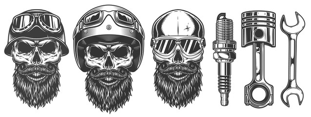 Set of skulls in the biker equipment