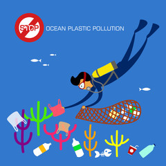Stop plastic pollution. Reduce, Reuse, Recycle. Scuba diver cleaning plastic trash from ocean. vector illustration.