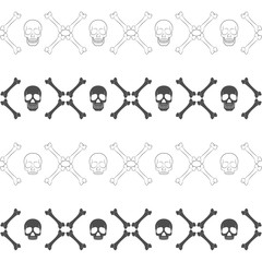 Set of seamless horizontal patterns with skull and bones. Vector black and white backgrounds.
