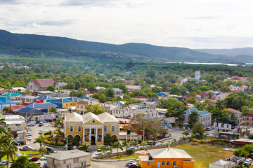 Falmouth port in Jamaica island, the Caribbeans. With old houses and duty free zone. From above, picture from cruise ship liner