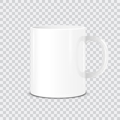 Realistic vector white cup isolated on transparent background. Mock Up template.