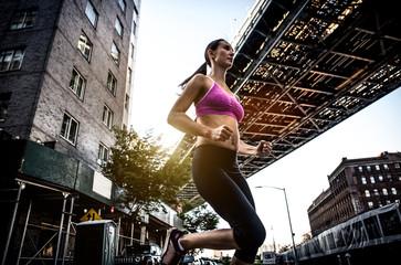 Woman running in New york
