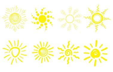 set of eight sun signs. beautiful illustration.