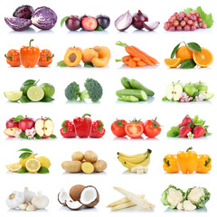Wall Mural - Früchte Obst und Gemüse Sammlung Apfel Knoblauch Orange Bananen Weintrauben Farben frische Freisteller freigestellt isoliert