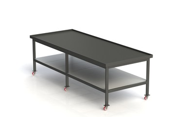 Working table of black metal covered with rubber. On white isolated background. 3D rendering,  3D illustration.