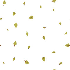 Birch leaf green pattern seamless