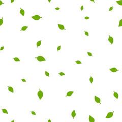 Birch leaf green seamless pattern