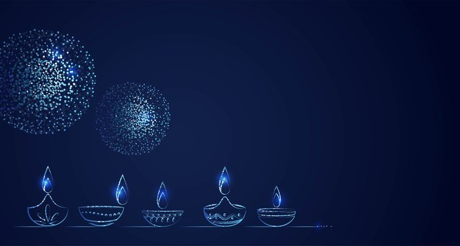Hand Drawn Illusration of Diwali lamps with Lights on Dark Blue Background. Vector Illustration