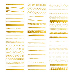 Golden brush lines and dividers. Borders. Vector illustration. Isolated.