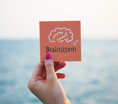 Text Brainstorm on a memo paper