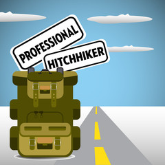 Two plates with the text professional hitchhiker in a backpack. Hitchhiking theme