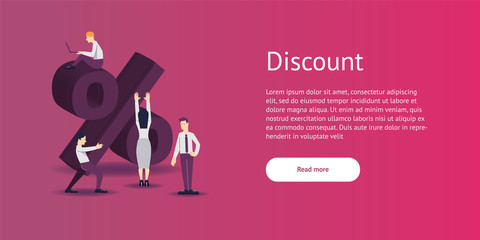 Vector illustration - discount sign percent in flat style.