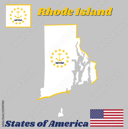 Map Outline And Flag Of Rhode Island Gold Anchor Surrounded By 13 Stars
