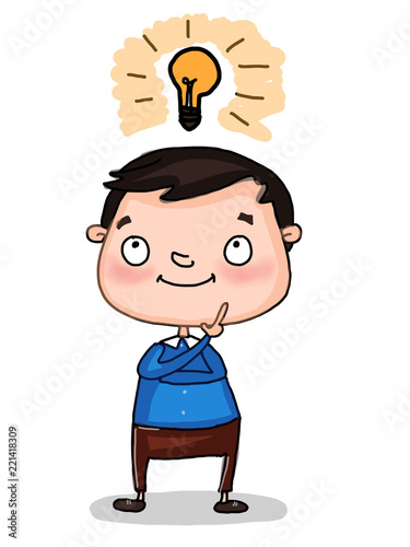 """cute cartoon student child thinking and lamp"" Stock photo ...