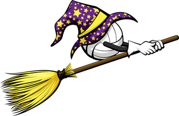 Volleyball with a starred wizard hat riding a witch's broom for Halloween.