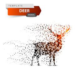 Deer dot illustration on the white background. Vector eps 10