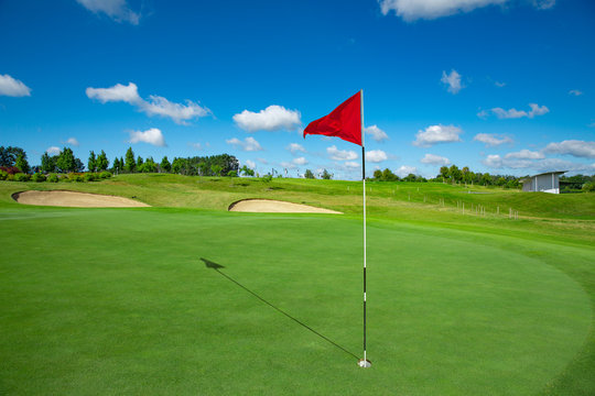 Golf course and the red flag
